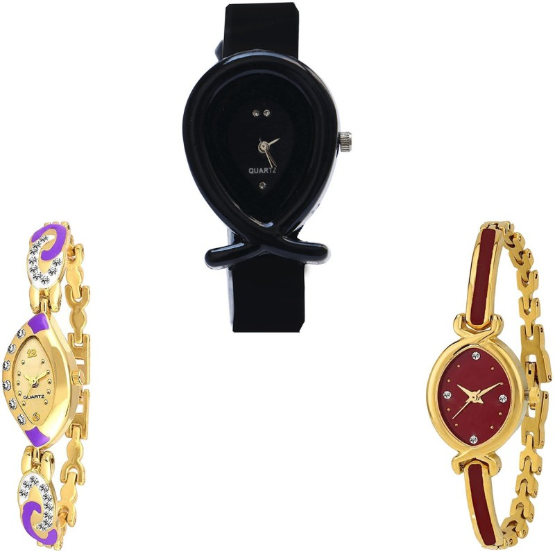 NIKOLA Brand New 3D Design Fish Shape Analogue Black And Gold Color Girls And Women Watch - G55-G124-G122 (Combo Of 3 ) combo watch Analog Watch  - For Girls