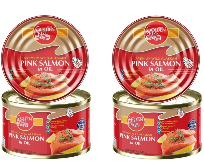 Golden Prize Pink Salmon in Oil, 140gm Sea Foods(280 g, Pack of 2)