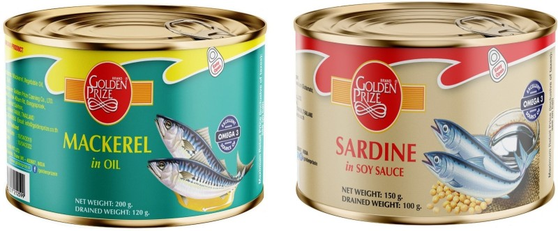 Golden Prize Mackerel in Oil, 200g and Sardine in Soy Sauce, 150 gm Sea Foods(350 g, Pack of 2)