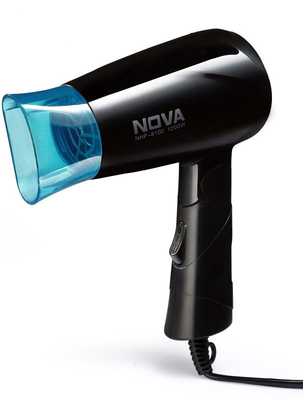 Nova Silky Shine 1200 W Hot And Cold Foldable NHP 8100/05 Hair Dryer(1200 W, Black, Blue)