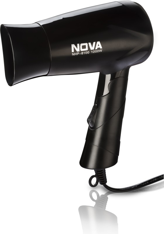 Nova Silky Shine 1200 W Hot And Cold Foldable NHP 8100 Hair Dryer(1200 W, Black)