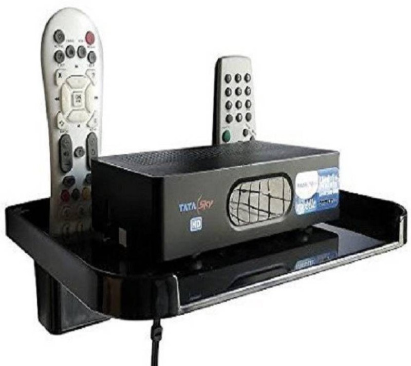 Sauran TV Set Top Box Stand Black With Remote Holder Plastic Wall Shelf(Number of Shelves - 1, Black)