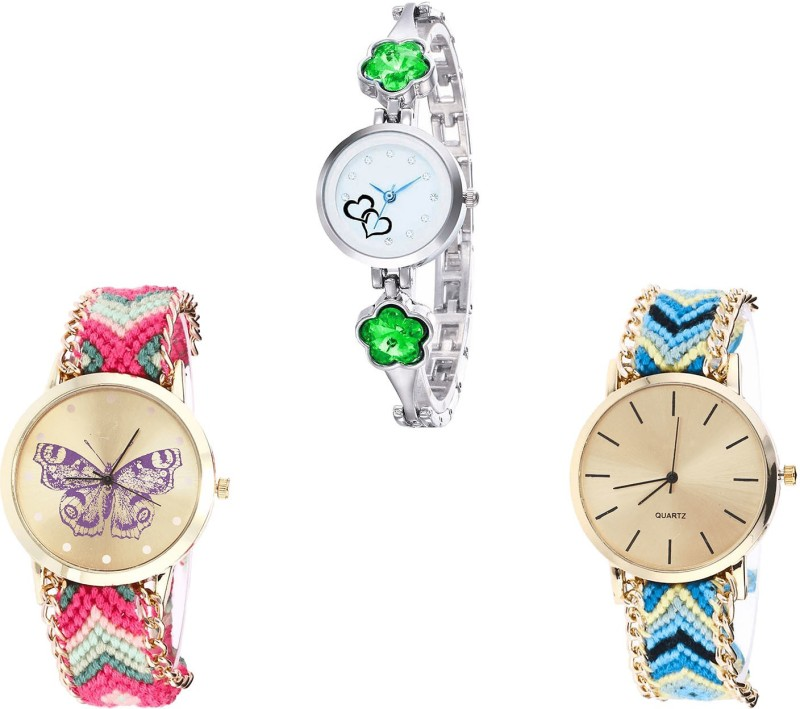 NIKOLA Latest Fashionable Love Valentine And Butterfly Analogue Silver And Multicolor Color Girls And Women Watch - G434-G139-G314 (Combo Of 3 ) combo watch Analog Watch  - For Girls