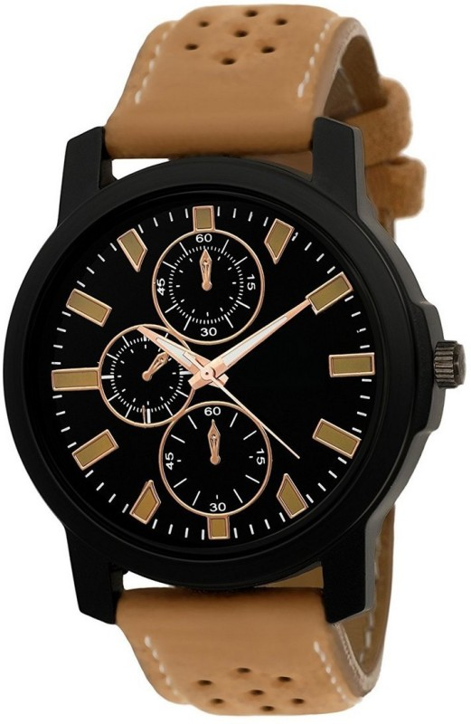 Kailash Enterprise Stylish Black Dial Cream Leather Strap Watch Analog Watch - For Men