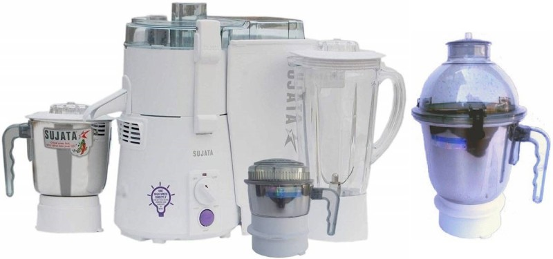 SUJATA 1 powermatic plus with chutney jar and dome jar 900 Juicer Mixer Grinder(White, 4 Jars)