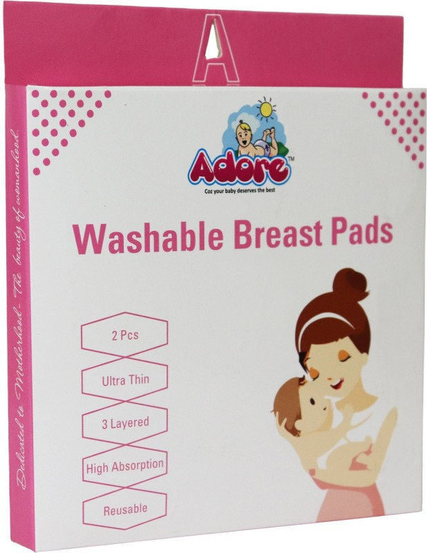 Adore Supper Soft Organic Bamboo 3-Layer Design Reusable Nursing Breast Pads (White) - Pack of 4 Nursing Breast Pad(Pack of 4)