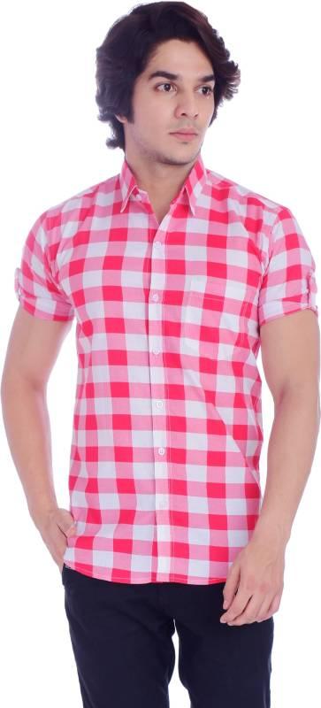BASE 41 Men Checkered Casual Pink Shirt