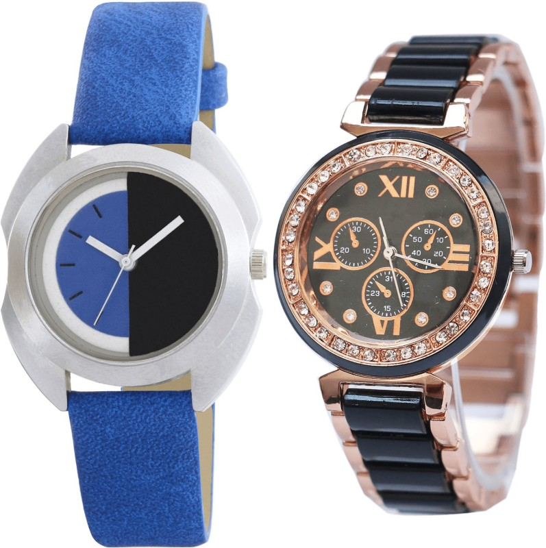 NIKOLA Best High Quality Analogue Blue And Black Color Girls And Women Watch - G403-G209 (Combo of 2 ) combo watch Analog Watch  - For Girls