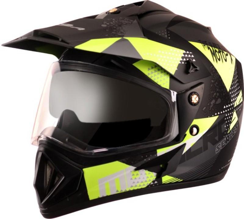 VEGA OFFROAD D/V MOTO X Motorbike Helmet(DULL BLACK NEON YELLOW)
