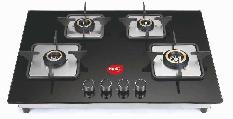 Pigeon Spark Series Hob Top Stainless Steel, Glass Automatic Gas Stove(4 Burners)