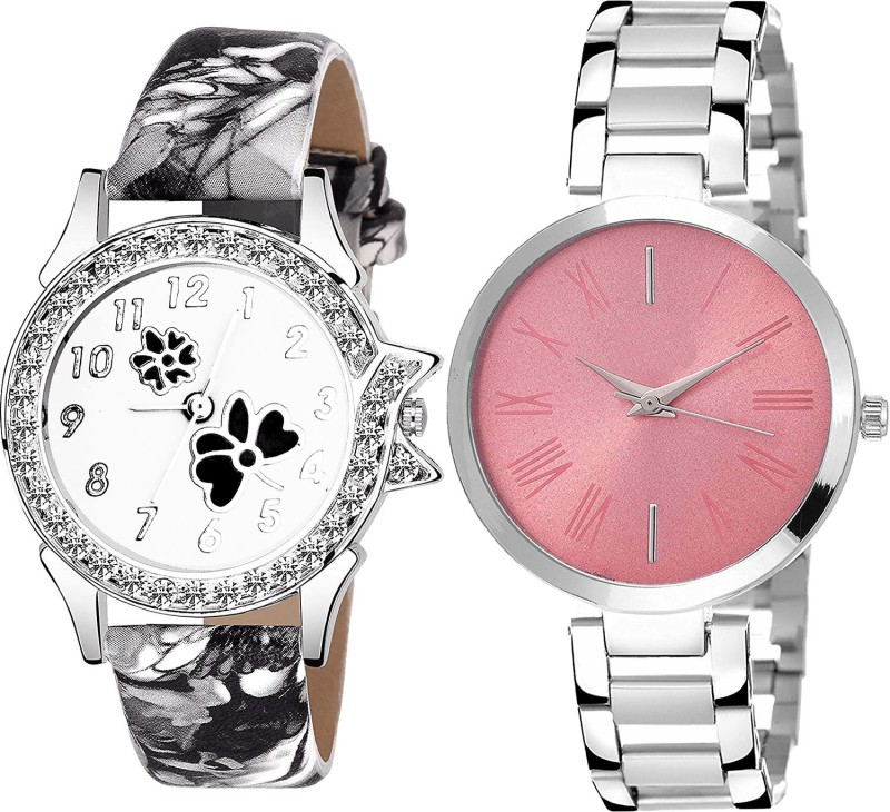 NIKOLA New Quartz Flower Dimond Analogue Black And Silver Color Girls And Women Watch - G408-G301 (Combo of 2 ) combo watch Analog Watch  - For Girls
