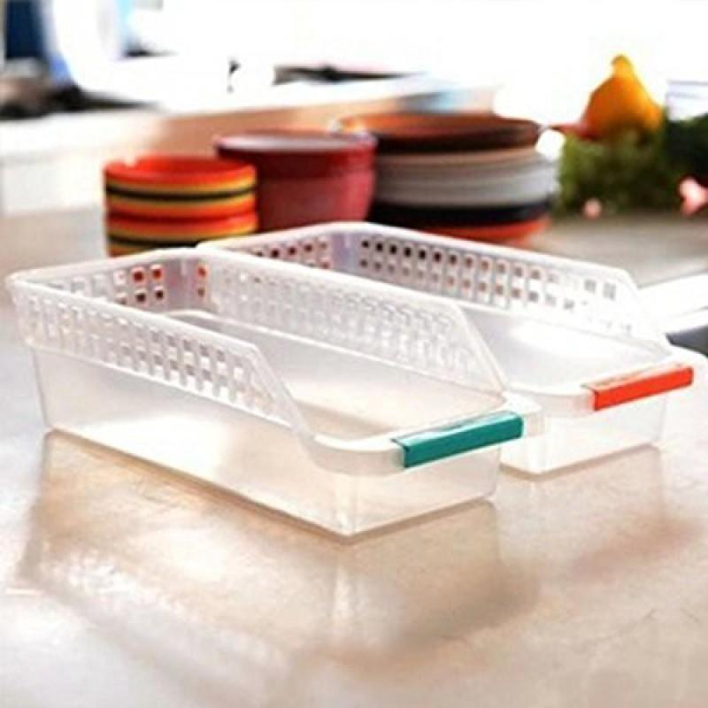 Saiyam Feidge tray long, Space Saver basket for fridge multi color (set of 2) Fridge Door Shelf