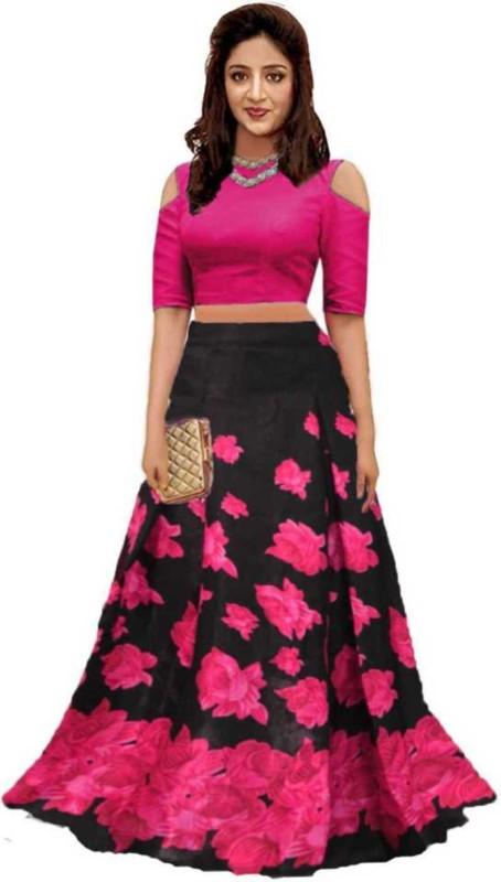 Narideal Self Design Semi Stitched Lehenga Crop Top Pink Black Buy Online In Guatemala At Desertcart