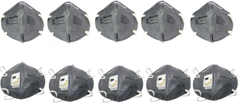 3M 9000ING (Pack of 5) with 9004GV (Pack of 5) Combo P1 Class Mask & Respirators Mask and Respirator