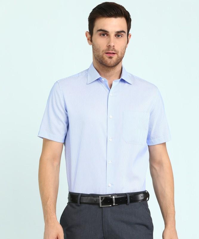 Louis Philippe Men Striped Formal White, Blue Shirt