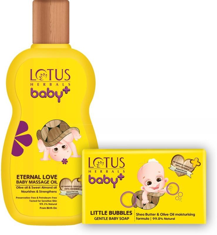 Lotus herbals Baby+ Eternal Love Baby Massage Oil 220 ml & Little Bubbles Gentle Bathing Soap 75 gms Combo Set(Set of 2)