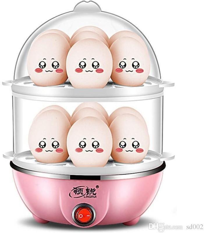 rivansh Electric 2 Layer Egg Boiler Poacher - Compact, Stylish 14 Egg Cooker with Measuring Cup & Steel Bowl boilar Egg Cooker(Multicolor, 14 Eggs)