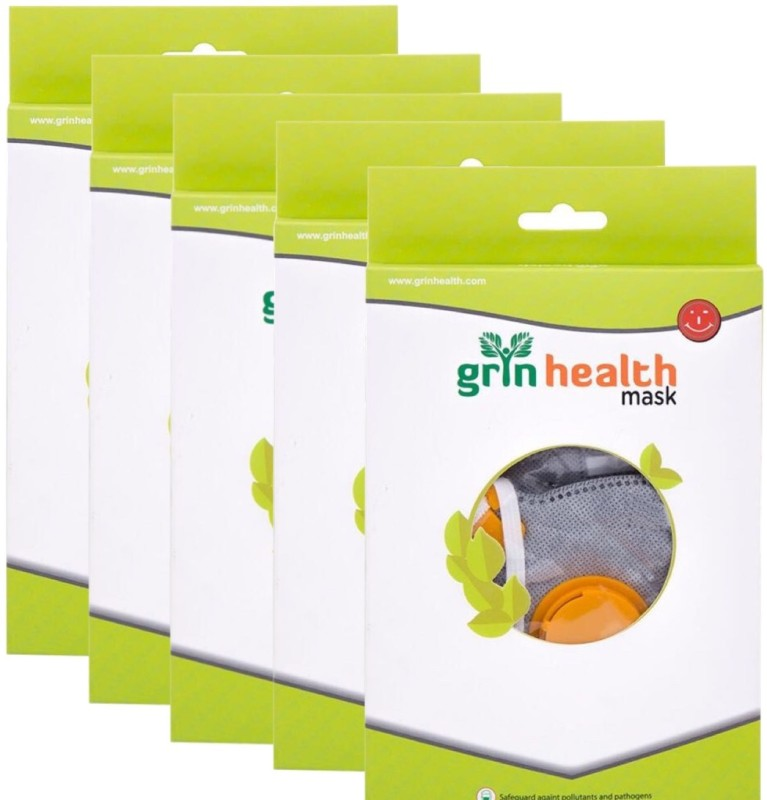Grin Health Pack of 5 - Anti-Pollution Mask (P-Series: Grey) GH-APM-P95-PACK of 5 Mask and Respirator