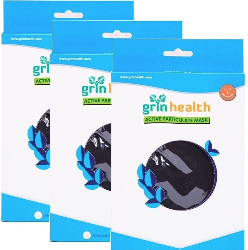 Grin Health Pack of 3 Anti-Pollution Face Mask with Activated Carbon (STN-N99) GH-APM-N99-STN-PACK of 3 Mask and Respirator