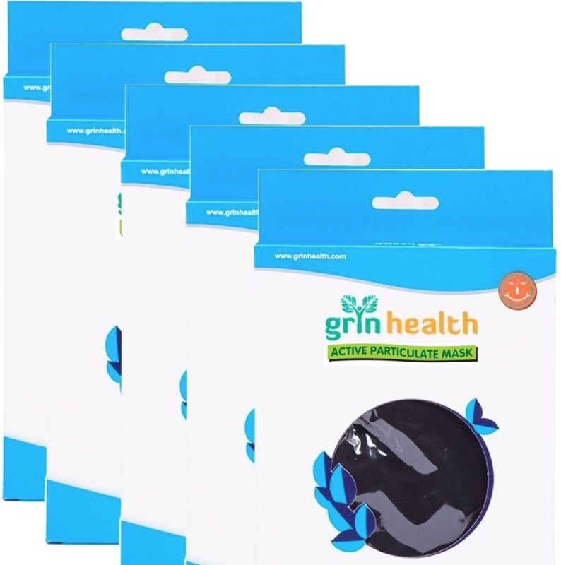 Grin Health Pack of 5 Anti-Pollution Face Mask with Activated Carbon (STN-N99) GH-APM-N-99-STN-PACK of 5 Mask and Respirator