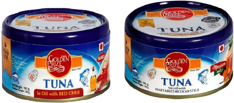 Golden Prize Tuna Sandwich Flakes in Oil with Red Chili and Tuna Salad with Vegetables Tuna Fish Slices(370 g Pack of 2)