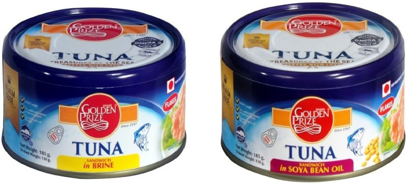 Golden Prize Tuna Sandwich in Brine and Tuna Sandwich in Soya Bean Oil (2 x 185gms Each) Tuna Fish Slices(370 g Pack of 2)
