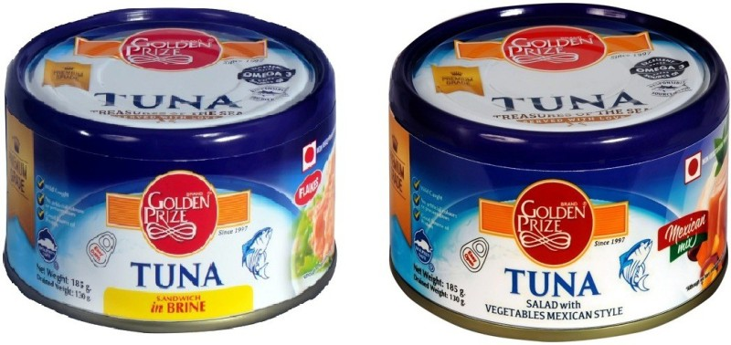 Golden Prize Tuna Sandwich Flakes In Brine and Tuna Salad with Vegetables Tuna Fish Slices(370 g Pack of 2)