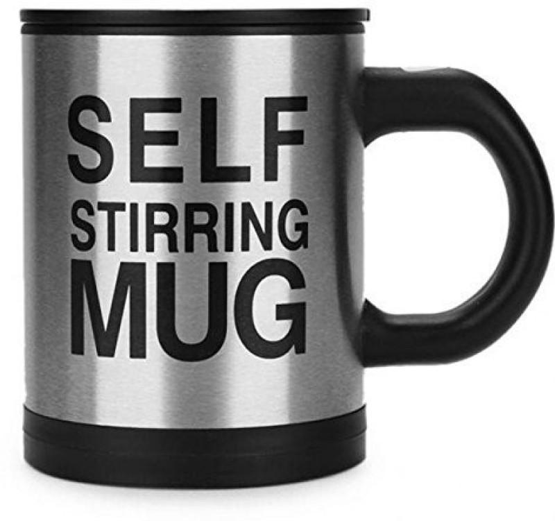 SWASTIK SYSTEMS Self Stirring Mug Stainless Steel Coffee Mug N Self Heating Mug