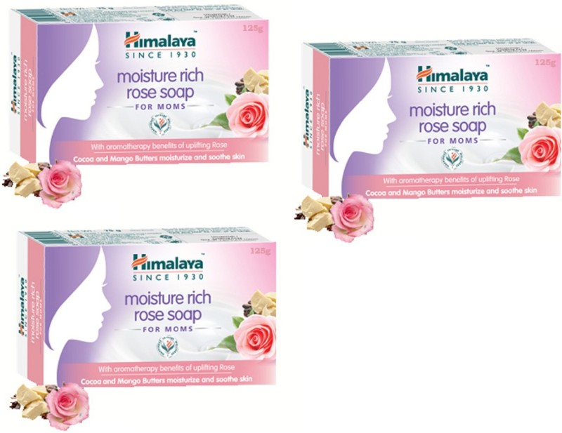 Himalaya Moisture rich Rose Moms Bar(3 x 125 g)
