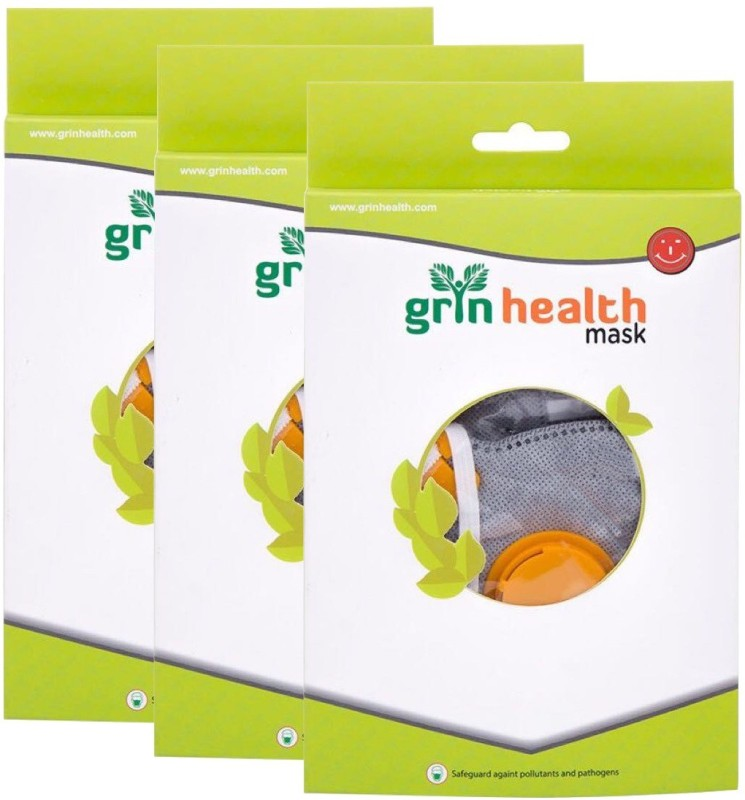 Grin Health PACK OF 3- Anti-Pollution Mask (P-Series: Grey) P95-PACK OF 3 Mask and Respirator