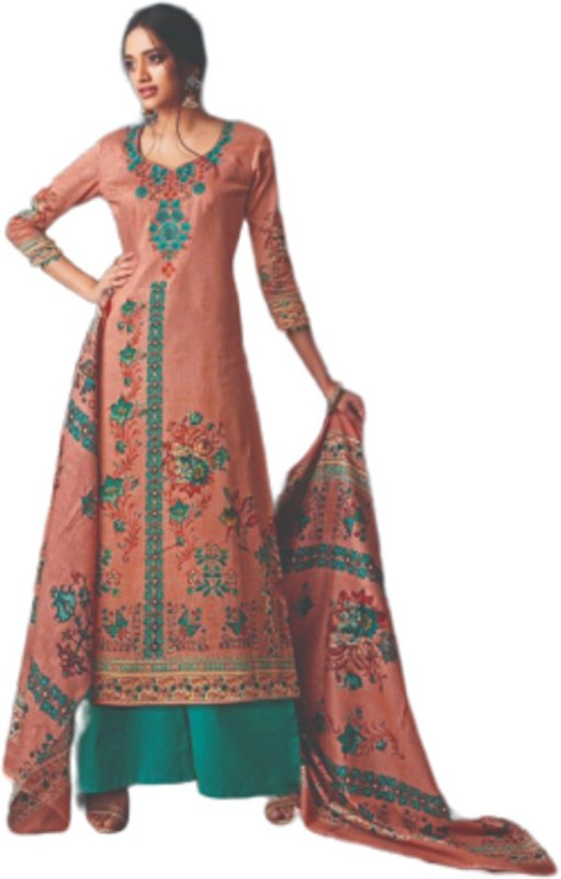 D.S.FABRICS Cotton Embroidered Salwar Suit Material(Unstitched)
