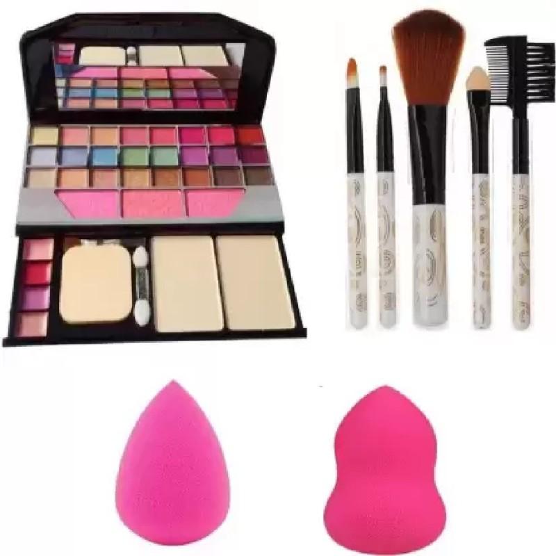 Sah&Shi 5 pcs Makeup Brush + Tya 6155 Makeup Kit + 2 pc Blender Puff Combo(Pack of 4)