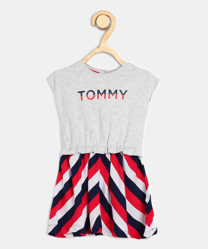 Tommy Hilfiger Girls Midi/Knee Length Casual Dress(Multicolor, Cap Sleeve)