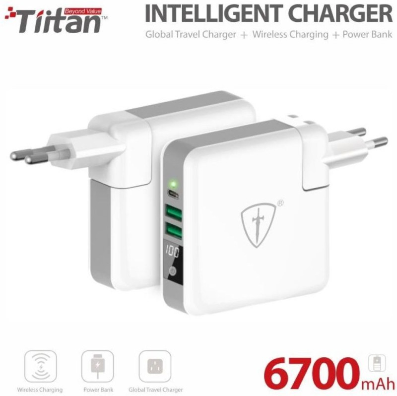 Tiitan 6700 mAh Power Bank (SC01_6700, SC01 6700mAh Intelligent Charger)(Black, White, Lithium Polymer)