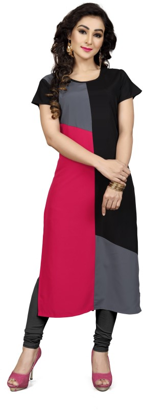 Pavitra Women Colorblock Straight Kurta(Multicolor)