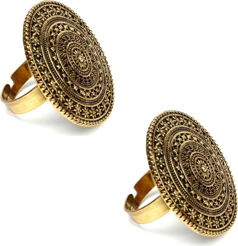 DYNAMIC FASHION New Combo of 2 Oxidised Finger Ring For Girls/Women Alloy Gold Plated Ring