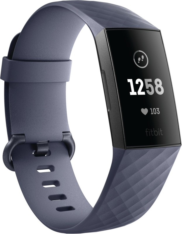 Fitbit Charge 3(Grey Strap, Size : Regular)