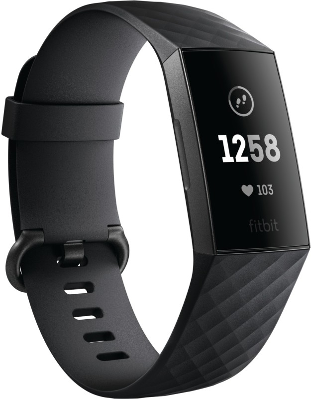 Fitbit Charge 3(Black Strap, Size : Regular)