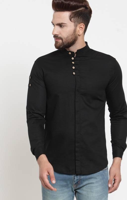 VERO LIE Men Solid Casual Black Shirt