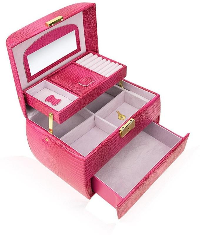 AVMART Designer Makeup, Jewellery, Multi Purpose Vanity Box (Pink) Makeup, Jewellery Vanity Box(Pink)