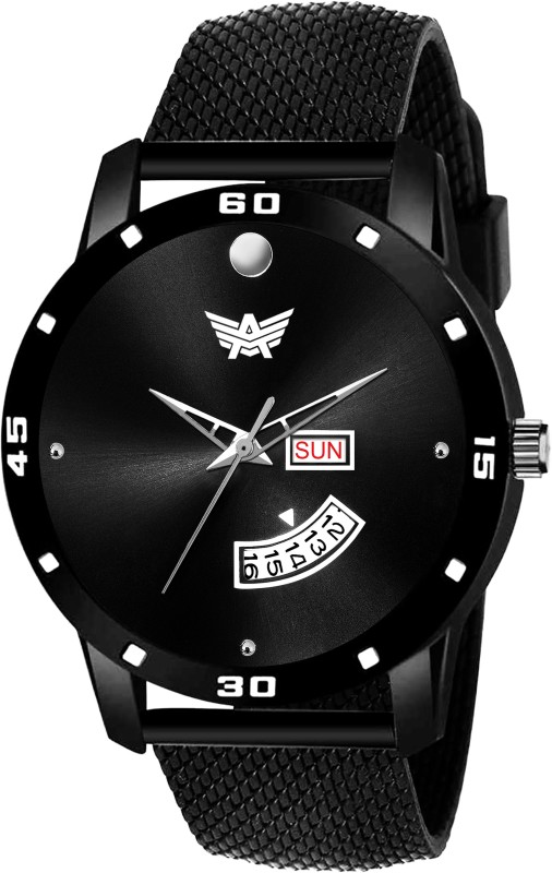 Abrexo Abx8126-BK Black Mesh Strap Day & Date Functioning Men Analog Watch - For Boys
