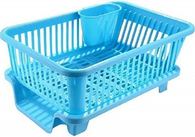 Floraware 3 in 1 Large Sink Set Dish Rack Drainer with Tray for Kitchen,Dish Rack Organizers, Blue Plastic Kitchen Rack(Blue)