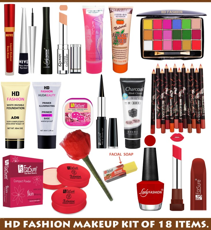 HD Fashion 18 in One Bridal Makeup Kit For Girls and women(Pack of 18)