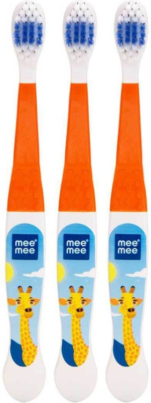 MeeMee Easy Grip Toothbrush,Pack of 3(Orange) Soft Toothbrush(3 Toothbrushes)