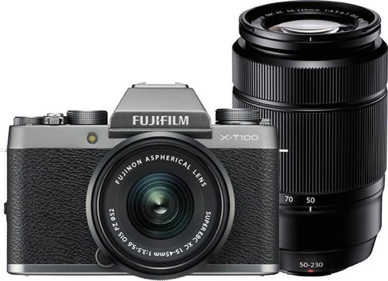 Fujifilm X Series X-T100 Mirrorless Camera Dual Kit with 15-45mm + 50-230mm Lens Kit(Silver, Black)