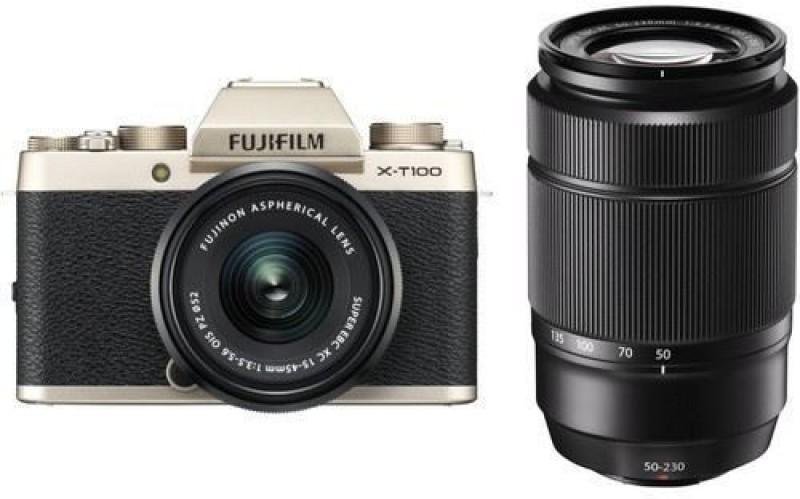 Fujifilm X Series X-T100 Mirrorless Camera Dual Kit with 15-45mm + 50-230mm Lens Kit(Gold, Black)