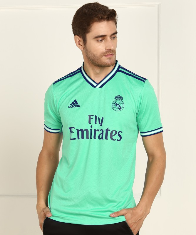 ADIDAS Real Madrid Self Design Men V Neck Green T-Shirt