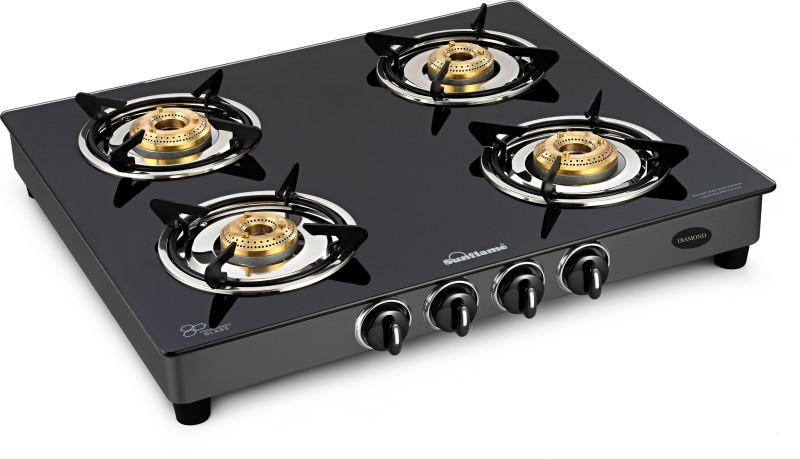 Sunflame Glass Top Diamond 4 Burner Black Stainless Steel, Glass Manual Gas Stove(4 Burners)