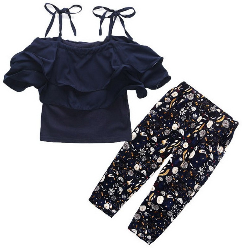 Mom's Shadow Girls Party(Festive) Dress Top, Legging(Dark Blue)