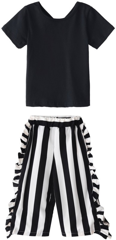 Mom's Shadow Girls Party(Festive) Dress Top, Pant(Black)